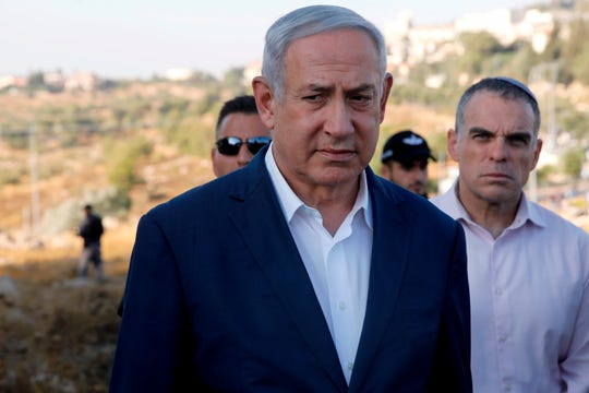 Prime Minister Benjamin Netanyahu went to the settlement of Migdal Oz in the occupied West Bank on August 8, 2019 after the death of an Israeli soldier.