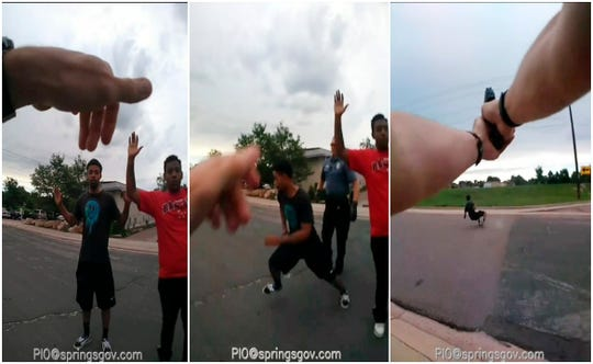 The Colorado Springs Police Department released a sequence of three photos from body camera video from a confrontation between officers and De'Von Bailey on Aug. 3.