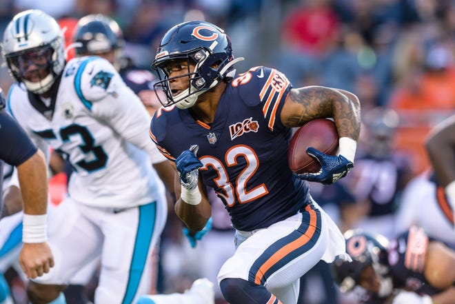 "Bears rookie David Montgomery is a popular ""Zero RB"" target in fantasy drafts because he's going in the middle rounds and has the talent to be a three-down threat."