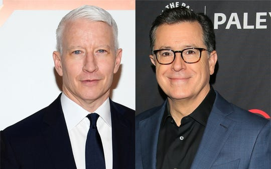 Anderson Cooper and Stephen Colbert