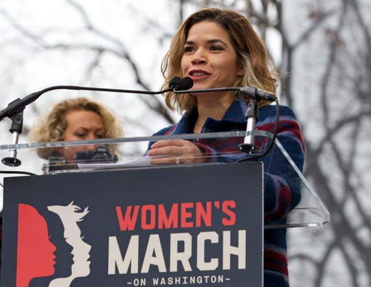 Actress America Ferrera speaks to the crowd during the original Women's March in Washington on Jan. 21, 2017. This year's demonstration will focus less on celebrities and more on grassroots organizers.
