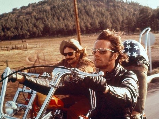 "Dennis Hopper and Peter Fonda in 1969's ""Easy Rider."""