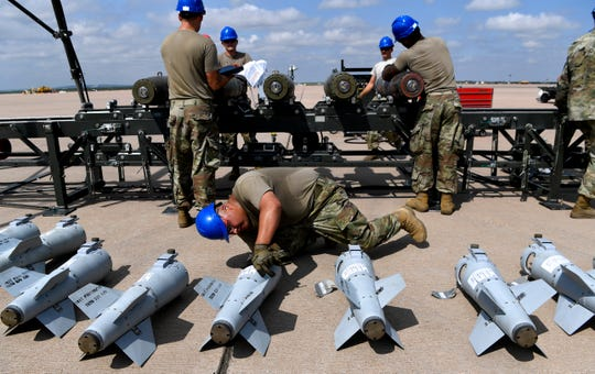 Ssgt. Cruz Vasquez of the the 7th Munitions Squadron inspects each tail assembly for the inert bombs to ensure they will fit properly. The squadron was competing in the Global Strike Challenge at Dyess Air Force Base on Wednesday.