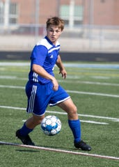 Chillicothe boys soccer's Michael Herlihy dribbles the ball during a 5-1 win over Watkins Memorial on Friday, August 16, 2019, at Herrnstein Field at Obadiah Harris Family Athletic complex in Chillicothe, Ohio. Herlihy earned the D-I District Player of the Year Award for the 2019 season.