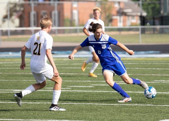 Chillicothe's Brady Wood dribbles the ball during a 5-1 win over Watkins Memorial on Friday, August 16, 2019, at Herrnstein Field at Obadiah Harris Family Athletic complex in Chillicothe, Ohio.