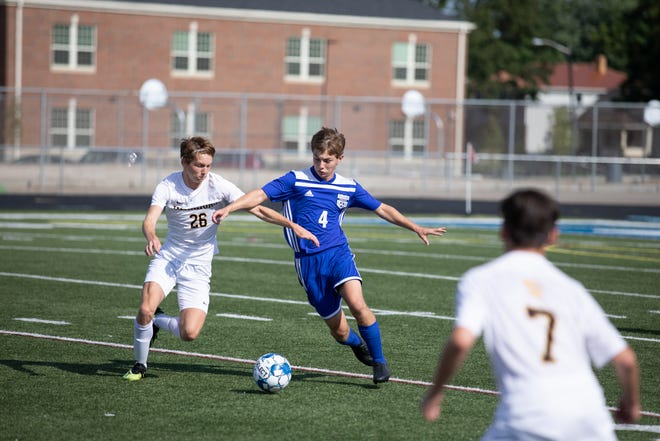 Chillicothe's Michael Herlihy dribbles the ball during a 5-1 win over Watkins Memorial on Friday, August 16, 2019, at Herrnstein Field at Obadiah Harris Family Athletic complex in Chillicothe, Ohio.