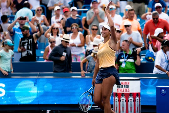Madison Keys waives after winning the Western & Southern Open tennis tournament semi-final match against Sofia Kenin during on Saturday, Aug. 17, 2019, in Mason. Madison Keys defeated Sofia Kenin 7-5, 6-4.