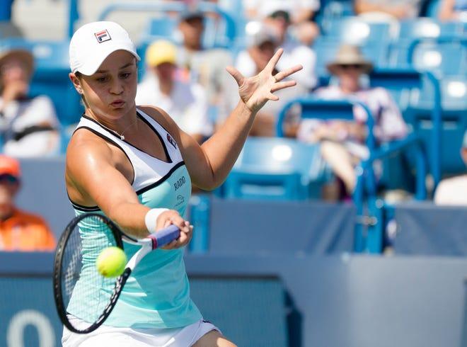 Ashleigh Barty returns to Svetlana Kuznetsova during the Western & Southern Open tennis tournament semi-final match on Saturday, Aug. 17, 2019, in Mason. Kuznetsova defeated Barty 6-2, 6-4.