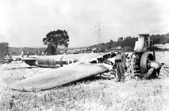 This picture taken by a British serviceman shows a Dornier Do 17 bomber of 9 staffel (Squadron) Kampfgeschwader 76, brought down on 18 August 1940 near RAF Biggin Hill.