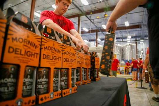 Thousands pack Toppling Goliath Brewing Company in Decorah for the Mornin' Delight release Aug. 17, 2019.