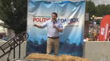 U.S. Rep. Seth Moulton, a Democratic presidential candidate, speaks on the Register's Soapbox at the Iowa State Fair on Saturday, Aug. 17, 2019.