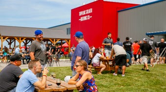 Thousands pack the Toppling Goliath Brewing in Decorah for the Mornin' Delight release