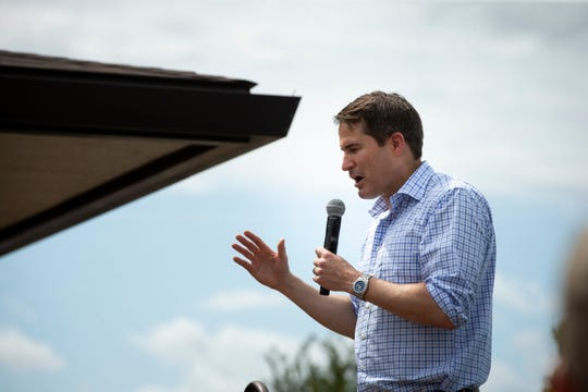 2020 Democratic presidential candidate and Massachusetts Representative Seth Moulton speaks on the Des Moines Register Soapbox at the Iowa State Fair on Saturday, Aug. 17, 2019 in Des Moines.