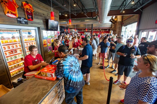 Thousands pack Toppling Goliath Brewing Co. in Decorah for the Mornin' Delight release Saturday, Aug. 17, 2019.