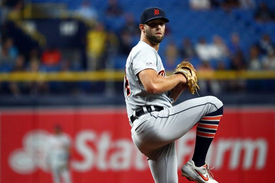 Detroit Tigers starting pitcher Daniel Norris (44) throws a pitch during the first inning against the Tampa Bay Rays at Tropicana Field on Friday, Aug. 16, 2019, in St. Petersburg, Fla.