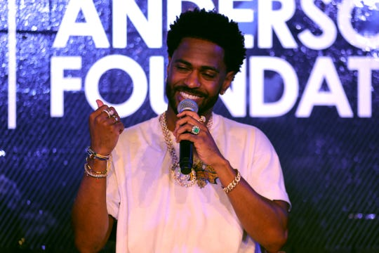 Big Sean takes questions last summer from reporters in the new studio he donated to the Dick and Sandy Dauch Boys and Girls Club in Detroit.