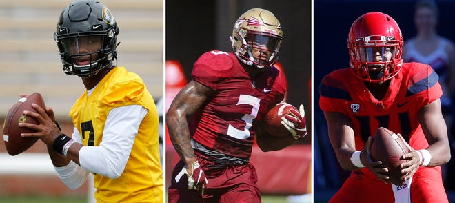Missouri quarterback Kelly Bryant, left, Florida State running back Cam Akers and Arizona quarterback Khalil Tate could be considered among the early contenders for the Heisman.