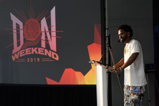 Sean Anderson, known as Big Sean, addresses the crowd during a ceremony to inaugurate the Sean Anderson Foundation Production Studio at the Dauch Boys and Girls Club, Saturday, Aug. 17, 2019 in Detroit.  (Jose Juarez/Special to Detroit News)