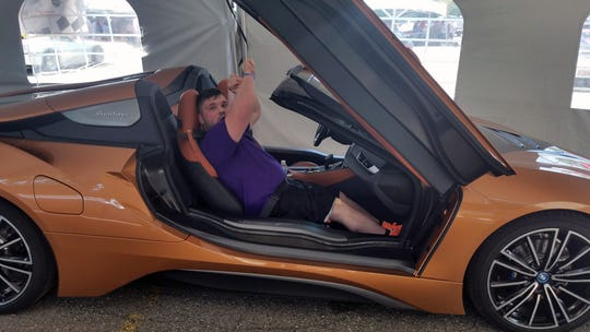 Jacob Sparknan in the BMW i8 on Saturday.