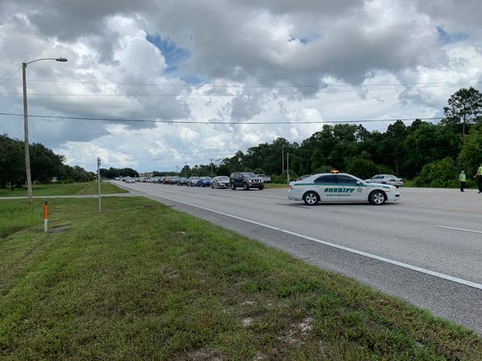 Traffic was backed up on NE Pine Island Road in Cape Coral after an afternoon car accident involving five vehicles Aug. 17, 2019