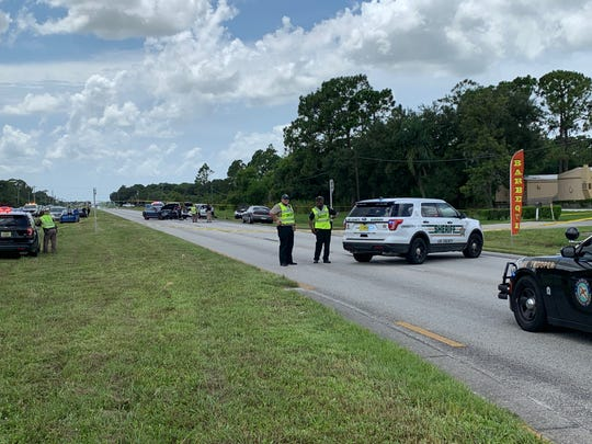 Officers have blocked off the westbound lanes of NE Pine Island Road for a crash involving five vehicles Aug. 17, 2019.