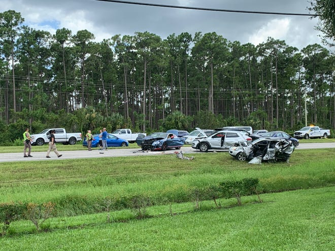 The rear end of the silver SUV was demolished during a five-vehicle crash on NE Pine Island Road Aug. 17, 2019