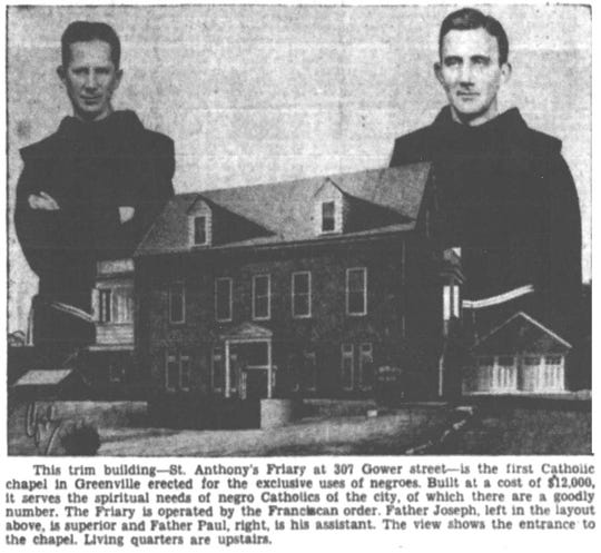 The Greenville News published this photograph of St. Anthony's Friary (still in use today) and the first priests to serve in its chapel in October 1939.