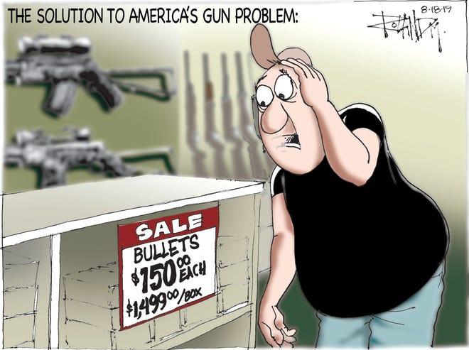 Sunday cartoon on gun control.