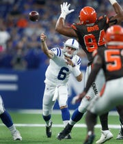 Indianapolis Colts quarterback Chad Kelly (6) fires a touchdown pass to tight end Ross Travis (43) in the second half of their preseason game at Lucas Oil Stadium on Saturday, August 17, 2019. The Colts lost to the Browns 21-18.