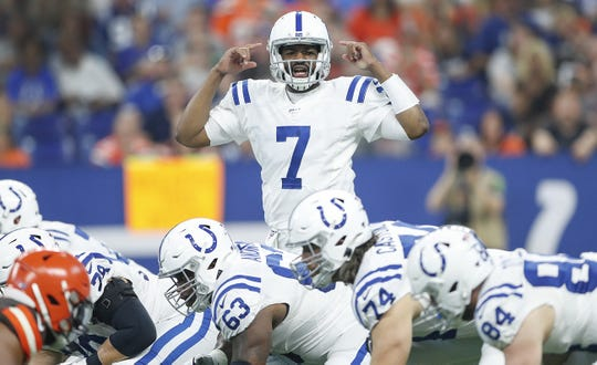 Indianapolis Colts quarterback Jacoby Brissett (7) calls a play in the first half of their preseason game at Lucas Oil Stadium on Saturday, August 17, 2019.
