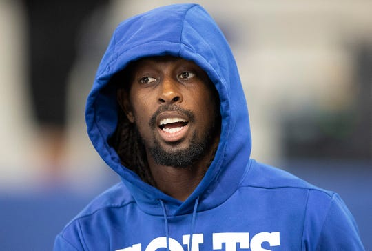 Indianapolis Colts wide receiver T.Y. Hilton (13) before the start of their preseason football game against the Cleveland Brownsat Lucas Oil Stadium on Saturday, August 17, 2019.
