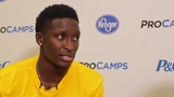 Victor Oladipo, coming off an injury, looks forward to the new Pacers season as he teaches some moves to budding hoop stars at Grand Park.
