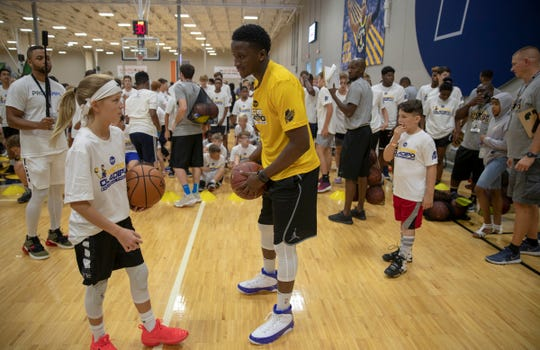 Victor Oladipo gives instruction at his Basketball Procamp, at Grand Park, Westfield, Saturday, Aug. 17, 2019.