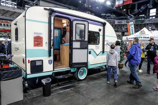 A 2019 Vintage Friendship 17SCD, made by Gulf Stream and sold by Campers Inn RV, features a retro look. It had a show price of $17,624 at the Indianapolis Boat Sport and Travel Show at the Indiana State Fairgrounds on Sunday, Feb. 17, 2019.