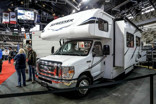 A 2019 Sunseeker 3010, from Campers Inn RV, had a list price of $81,749.00 at the Indianapolis Boat Sport and Travel Show at the Indiana State Fairgrounds on Sunday, Feb. 17, 2019.