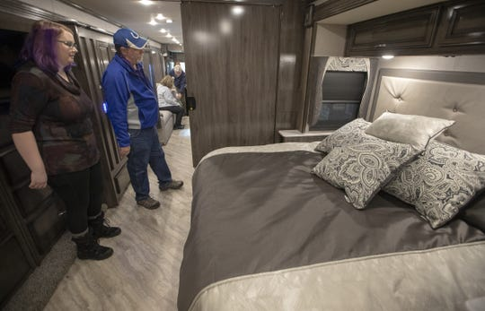 A 2019 Bounder 36F, one of the more expensive units at the Indy RV Expo, was one of the models on display at the Indiana State Fairgrounds in Indianapolis on Sunday, January 6, 2019.