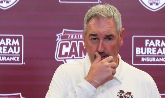 Mississippi State head football coach Joe Moorhead speaks at Media Day on Saturday, August 10, 2019 at the Leo Seal Complex. Photo by Keith Warren