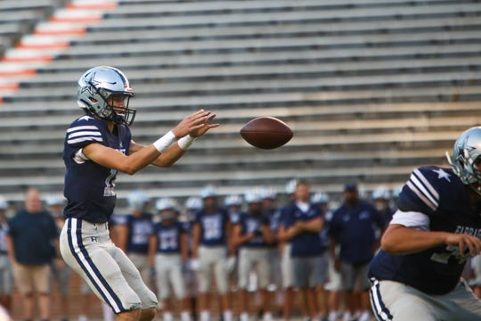 Farragut's Gavin Wilkinson receives the ball during the Knoxville Orthopaedic Clinic Kickoff Classic at Neyland Stadium in Knoxville Friday, August 16, 2019.