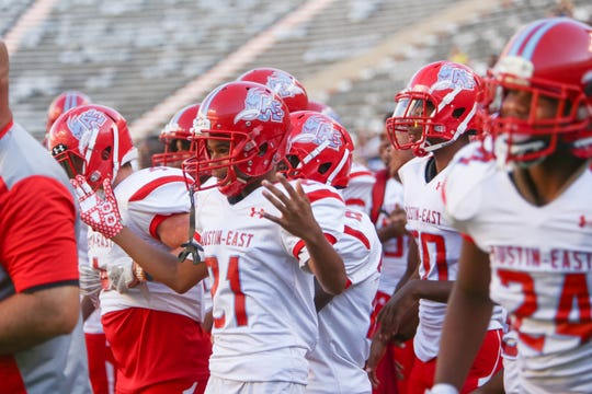 Austin East players celebrate during the Knoxville Orthopaedic Clinic Kickoff Classic at Neyland Stadium in Knoxville Friday, August 16, 2019.