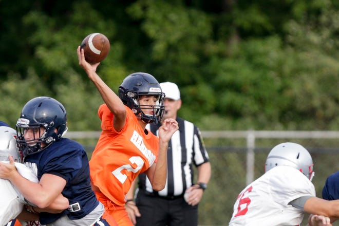 Harrison quarterback Tyler Knoy (2) throws during a preseason scrimmage, Friday, Aug. 16, 2019 at Harrison High School in West Lafayette.