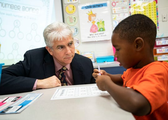 Collierville superintendent Gary Lilly visits a Sycamore Elementary School first grade classroom Friday, August 16, 2019.