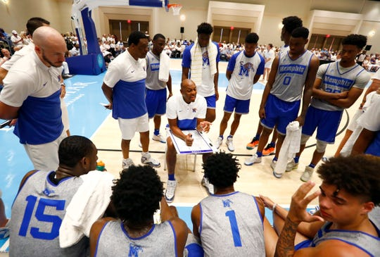 Memphis Tigers Head Coach Penny Hardaway talks to his team as they take on the Bahamas National Team during their exhibition game at the Grand Hyatt Baha Mar's New Providence Ballroom on Saturday, August 17, 2019.