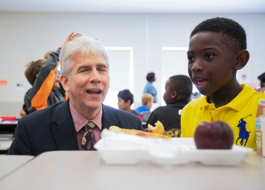 Collierville superintendent Gary Lilly visits a Sycamore Elementary School third grade class during lunch Friday, August 16, 2019.