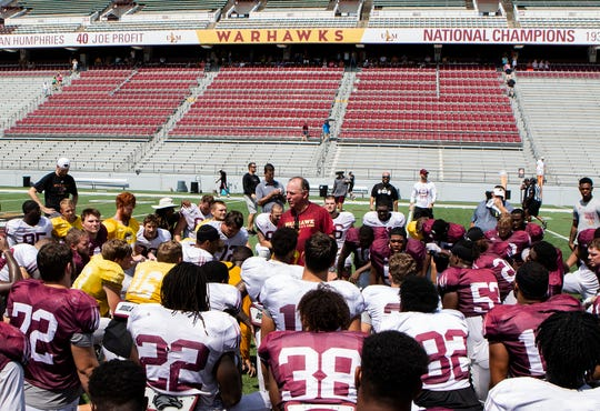 ULM football coach Matt Viator addresses the Warhawks after Saturday's scrimmage at JPS Field at Malone Stadium.