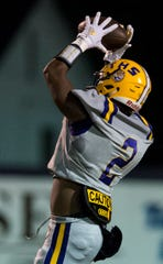 Receiver Tavarious Griffin (2) catches a pass during Meet the Tigers night at Tallassee High School Football Stadium in Tallassee, Ala., on Sunday, Jan. 1, 2012.