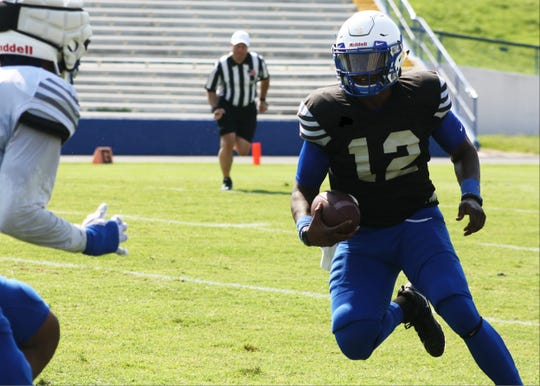 Michael Hughes took over as the second team quarterback on Saturday after not playing in Tennessee State first scrimmage the week before.