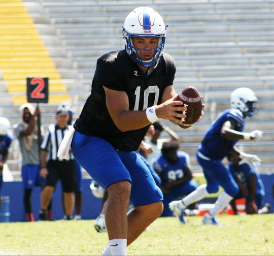 Cameron Rosendahl took over as the first-team quarterback for Tennessee State in Saturday's scrimmage at Hale Stadium.