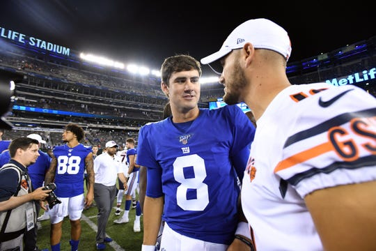 Giants vs. Bears at MetLife Stadium in East Rutherford on Friday, August 16, 2019. Giants #8 Daniel Jones after the game.