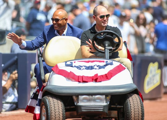 Aug 17, 2019; Bronx, NY, USA; Former New York Yankees pitcher and Hall of Famer Mariano Rivera is honored prior to the game against the Cleveland Indians at Yankee Stadium.