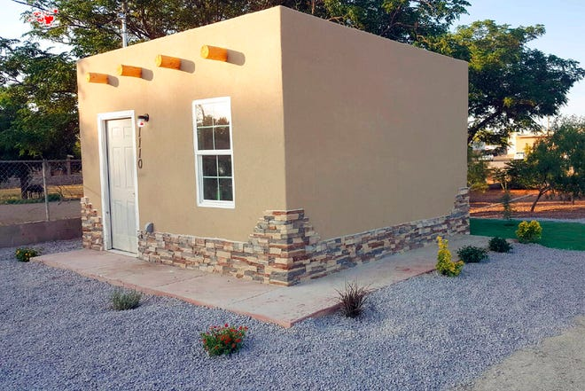 This undated photo shows the tiny home of Republican Senate candidate Gavin Clarkson in Las Cruces. Clarkson works as an expert legal witness on Native American economic issues and lives in an experimental tiny home that is 15 feet long and wide, according to new financial disclosure filings disclosed Friday, Aug. 16, 2019. Clarkson is one of two GOP candidates seeking the Senate nomination; both were handily defeated last year running for other statewide offices in New Mexico.